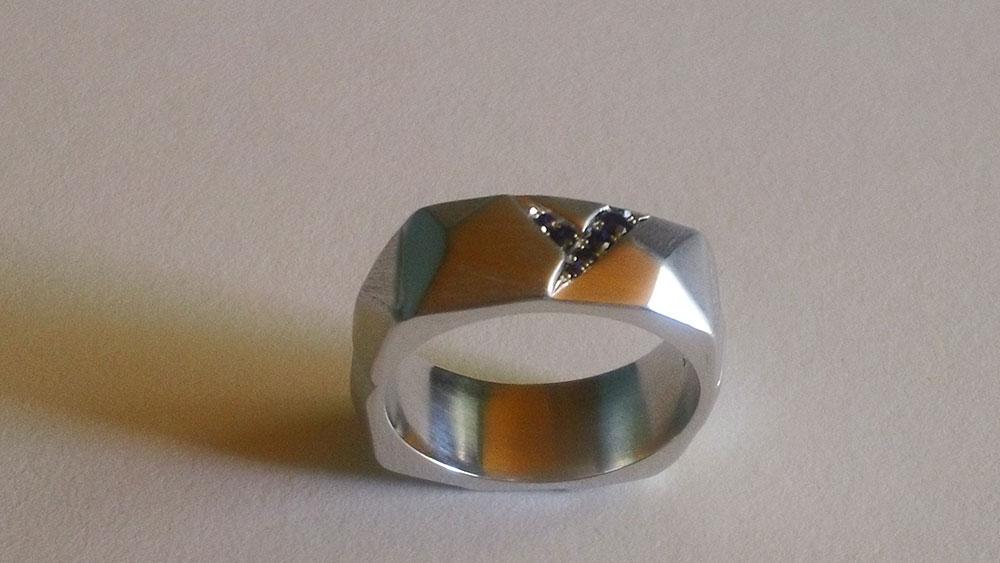 Sapphire Geometric 14k wg Ring