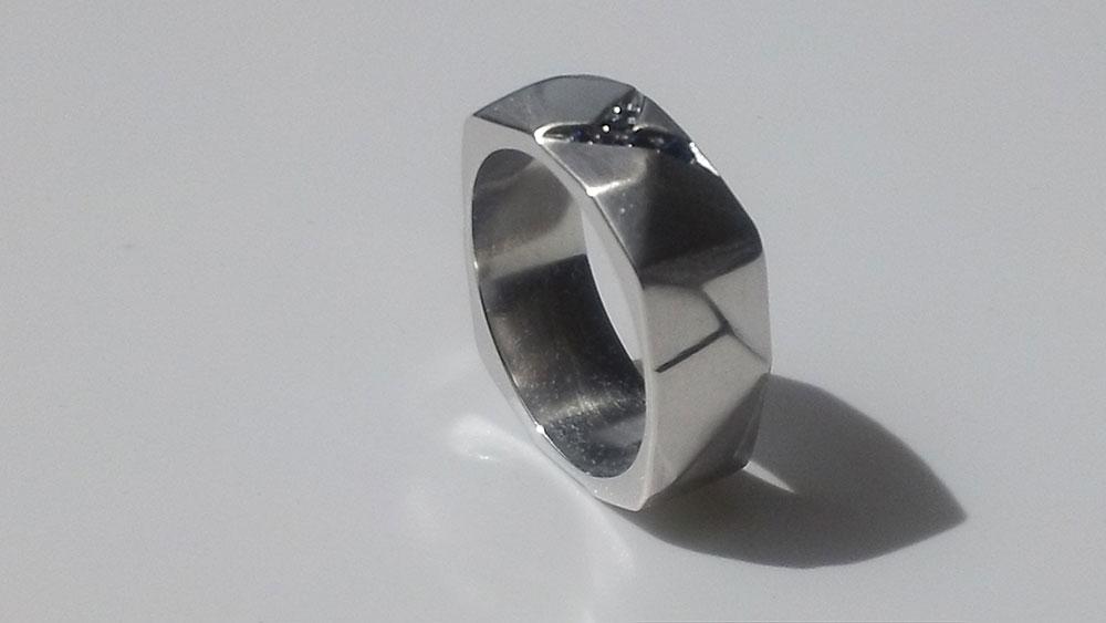 Sapphire Geometric Ring