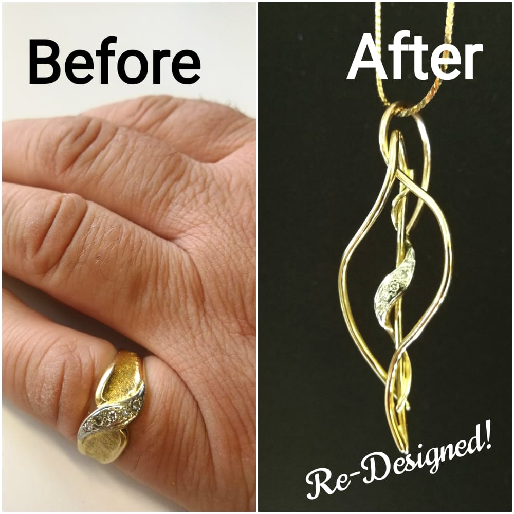 Lydia's Before & After leaf pendant